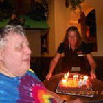 Great Waitress serving our BD cake