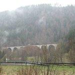 Beautiful rail bridge behind the hotel