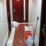 Dirty linen left in hallway for hours