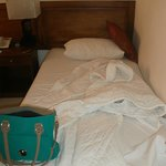 the bed...