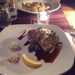 Main dishes: sesame-crusted tuna and salmon tagliatelle