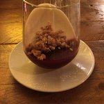 Cereal milk pannacotta, cherry jelly and a white chocolate cereal crisp