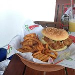 Chicken Burger with curly fries instead of regular fries