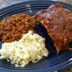 Dinner - Ribs, Beans, Coleslaw