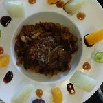 Migas con foie y frutas