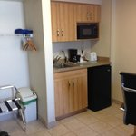 Kitchenette area with closet space
