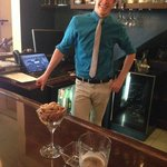 Lance Staub, the assistant manager, at the lobby bar at happy hour.