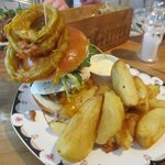 The Dirty Burger with Onion Rings