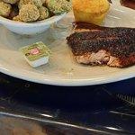 Blackened salmon and fried okra