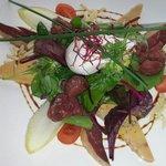 Œuf pioché,magret canard fumé, fois gras, gesier de volaille avec salade