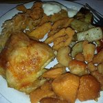 I put together a sampler of sea foods and chicken.  Sweet potato too.  Everything melt in your m