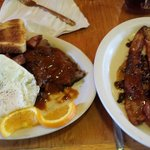 Red Sauce Brisket and Eggs with Maple Pecan Bacon (not the exact name, but close)