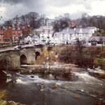 Llangollen Bridge and the roaring River Dee from our room