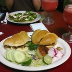 Torta in front, cactus tacos in back