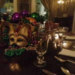 Mardi Gras decorations at the Terrell House