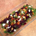 Roasted carrot, beet, pecan, goat cheese, mango, arugala salad, with lime/cumin vinaigrette