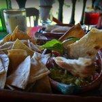Guacomole chips appetizer