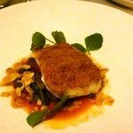 gruyere crusted snapper fillet, tomato mustard seed sauce, green beans & almonds ... perfect!