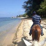 following my guide along the beach