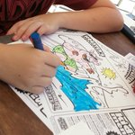 Kids colouring material supplied to help pass the time