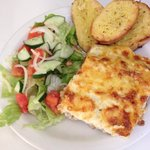 Homemade Lasagne & Garlic Bread as a lunch time special $20 bds