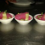 Zucchini and mascarpone rolls with beetroot air