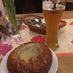 Żurek soup in bread