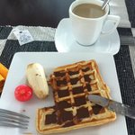 Breakfast and yummy waffles and coffee <3