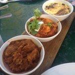 Lamb curry, chicken curry, bobotie