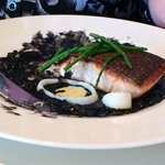 Organic Salmon with squid ink rice