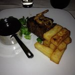 Fillet steak and chunky chips.