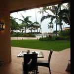 From the dining room to courtyard & beach beyond