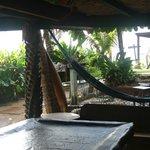 Vista del lugar de recreación, billar y hamacas...