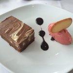 Chocolate and rhubarb pudding... Yum!