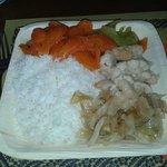 Piatto grande:riso jasmine con carote in agrodolce,cavoli al vapore,finocchi al curry e cavolo c