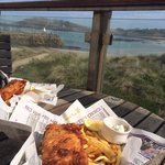 Yummy fish & chips on the terrace