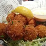 Hush puppies: shrimp and fish with corn, deep fried