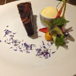 Chocolate Brownie with Ice Cream and fruity things :)