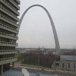 view  from hotel window of arch