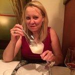 Lemon sorbet and Prosecco dessert!