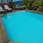 la piscine avec chaises longues