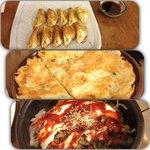 Fried meat dumplings, potato pancake and kimchi bibimbap