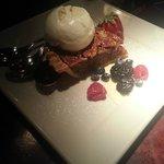 Dessert - sweet potato pecan pie with vanilla ice cream