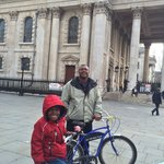 My son on the tandem bike.
