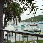 Cruz Bay harbor from nearby restaurant