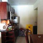Kitchenette, full fridge, microwave, stove
