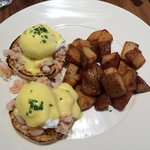Pacific eggs Benny. Made with shrimp and crab meats.