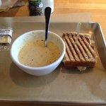 Turkey and pear panini and cup of kickin crab corn chowder.  Yum!