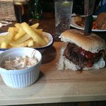 Steak burger with chips and coleslaw...seriously tasty!