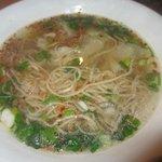 soupe de nouilles et raviolis